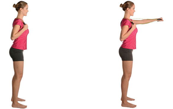 Begin by putting the Posture Medic on and holding both handles. With one hand and a time, punch forward, hold and retract.