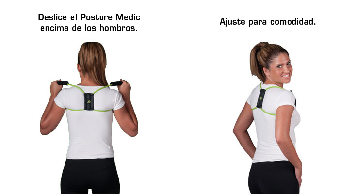 Now slide the Posture Medic over your shoulders. Adjust the handles and stabilizer to fit comfortably and you're done!