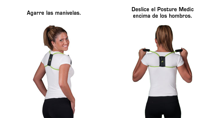To take off, start by holding the handles. Lift hands away from your chest and extend your elbows to slide the Posture Medic off of your shoulders and down.